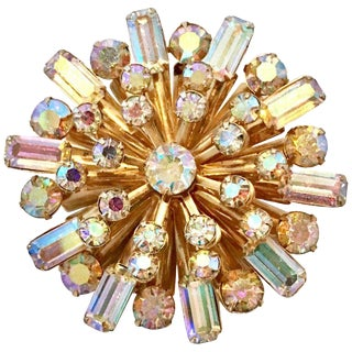 "20th Century Gold & Austrian Crystal ""Starburst"" Brooch For Sale"