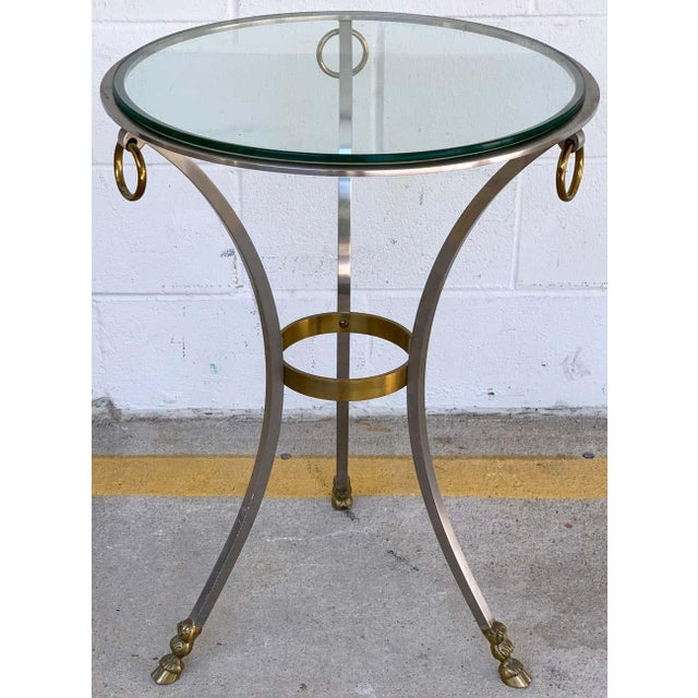 Maison Jansen Neoclassical Steel and Brass Gueridon For Sale - Image 9 of 11
