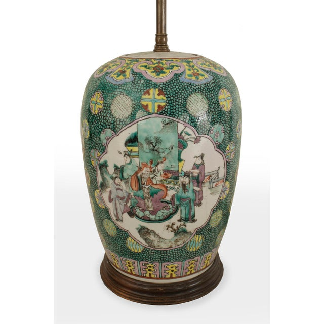 Asian Asian Chinese Style Ginger Jar Shaped Green Porcelain Table Lamps- a Pair For Sale - Image 3 of 4