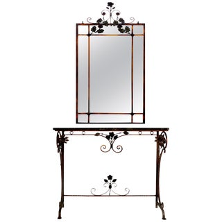 Italian Art Deco Gilt Iron, Polychromed Marble Top Console With Matching Mirror For Sale
