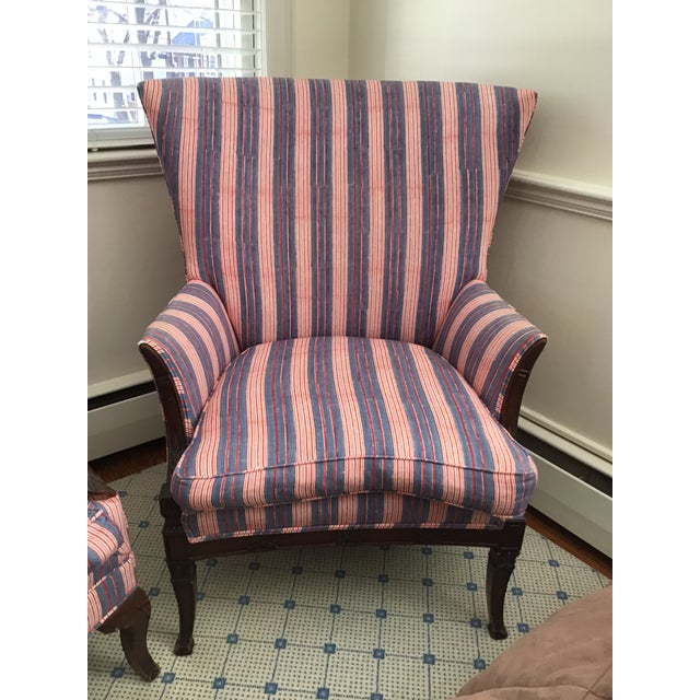 1990s Antique Chairs With John Robshaw Vintage Stripe Cora Fabric - a Pair For Sale - Image 5 of 13