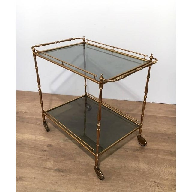 1960s French Brass and Glass Rolling Cart - Image 6 of 7