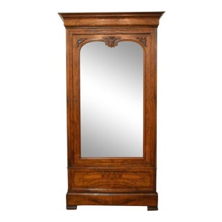 Louis Philippe Period Walnut Armoire With One Mirrorred Door.