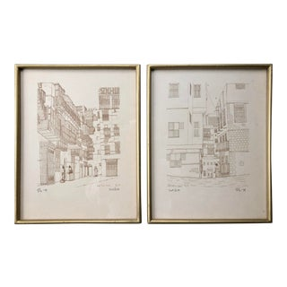 1979 Saudi Arabian Signed and Numbered Old Jeddah Street Life Prints- a Pair For Sale
