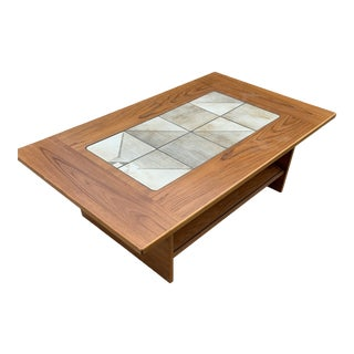 Mid Century Modern Teak Tile Inlay Coffee Table For Sale