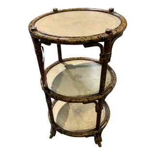 Asian Maitland Smith 3 Tier Burnt Bamboo Leather Table For Sale