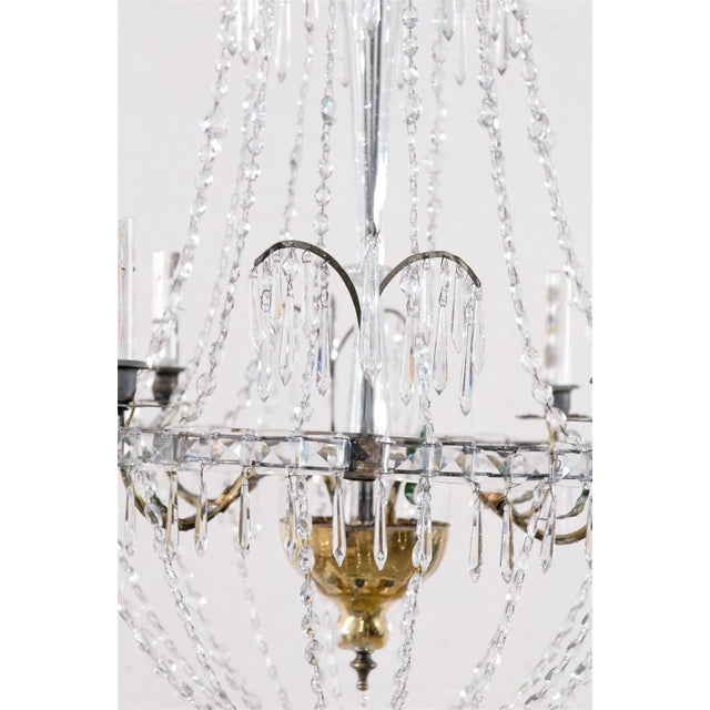 Glass Italian Crystal Four-Light Chandelier With Crystal Center Column For Sale - Image 7 of 11