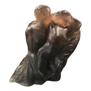 Pierre Roulot Crystal Figural Pate-De-Verre for Daum Sculpture For Sale