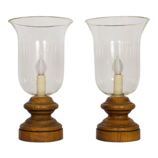 20th Century Americana Glass and Wood Hurricane Lamps - a Pair For Sale