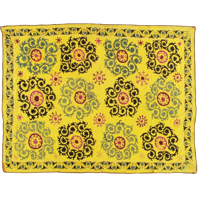 Late 20th Century Suzani Textile Rug - 6′2″ × 8′2″ For Sale