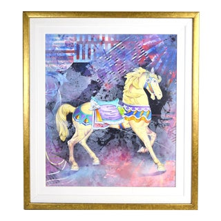 """Yankel Ginzburg """"Organic Sound"""" Painting Carousel Horse Abstract Scene For Sale"""