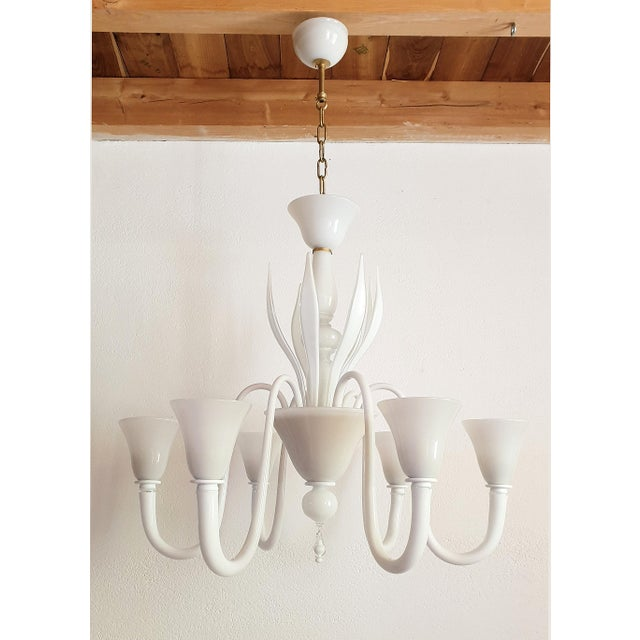 Hollywood Regency Large Mid-Century Modern 6 Lights Milk Murano Glass Chandelier by Venini For Sale - Image 3 of 11
