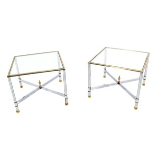 Mid-Century Modern X-Base Side Tables - A Pair For Sale
