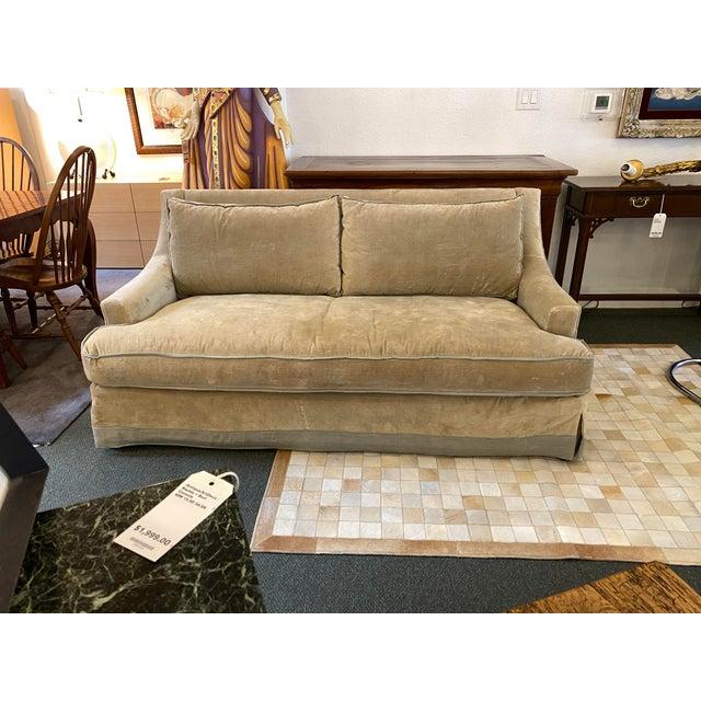 Design Plus Gallery presents a Baker Furniture Custom Velvet + Linen Trimmed Loveseat. Sumptuous down filled cushions...