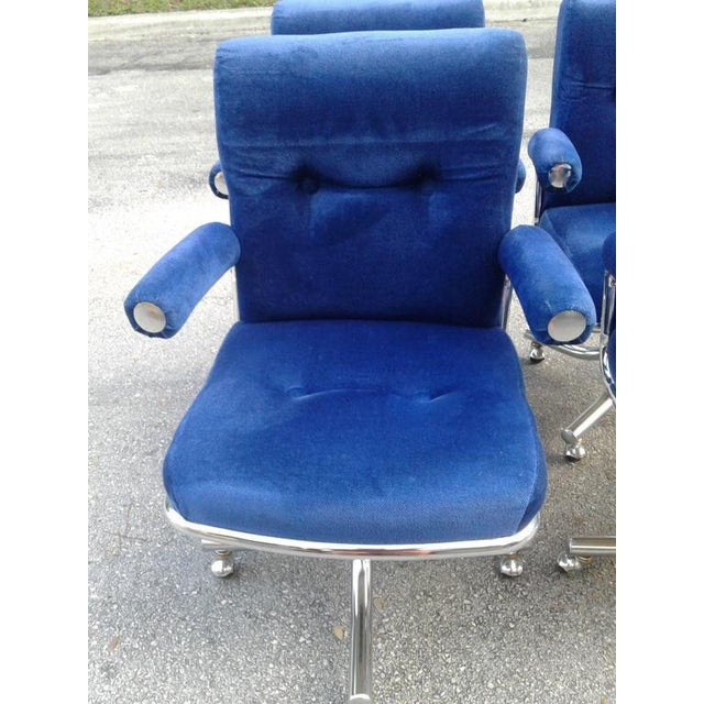 1970s Vintage Hollywood Regency Chrome Swivel Arm Chairs - 3 Available For Sale - Image 5 of 12