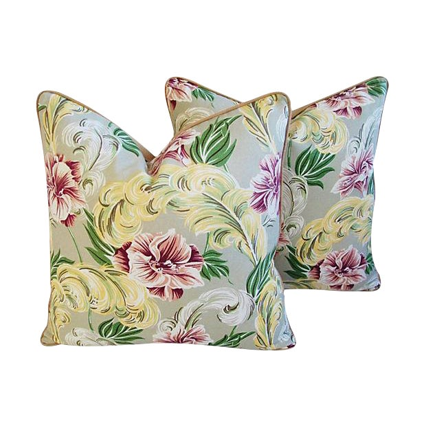 """23"""" Custom Tailored Tropical Floral Barkcloth Feather/Down Pillows - Pair - Image 7 of 7"""