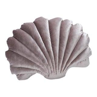 Large Shell Pillow - Smoke Lavender Velvet For Sale