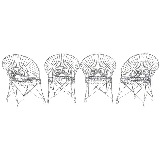 Set of Four French Iron and Wire Garden Chairs For Sale