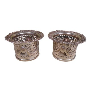 Early 19th Century Silver Plated Wine Coasters - a Pair For Sale