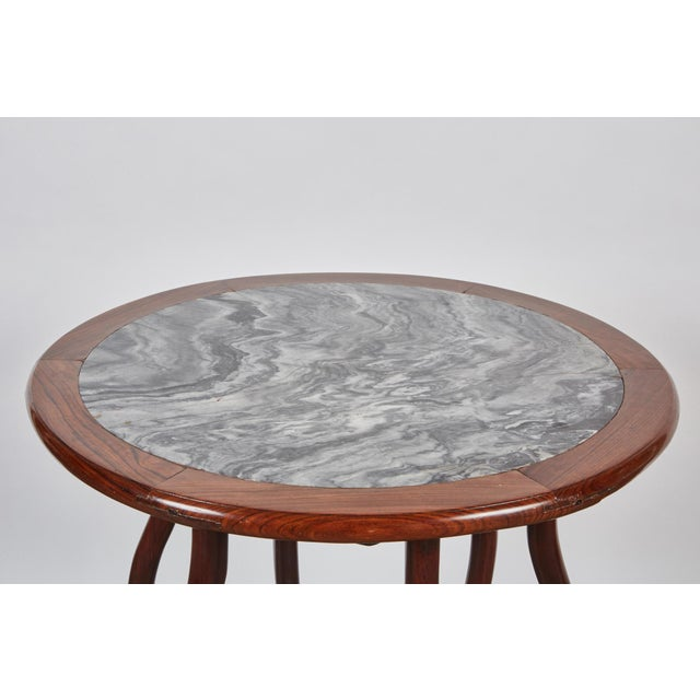 Asian Late 19th Century Chinese Round Rosewood Folding Table For Sale - Image 3 of 8