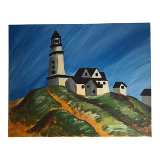 """Late 20th Century Vintage """"Montauk Lighthouse"""" Acrylic Painting For Sale"""