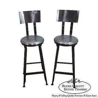 Heavy Industrial Steel Pair of Bar Stools (B) For Sale