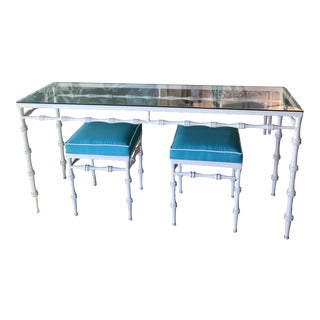 Vintage Phyllis Morris Newly Powder-Coated Upholstered Console Table & Benches -A Set For Sale