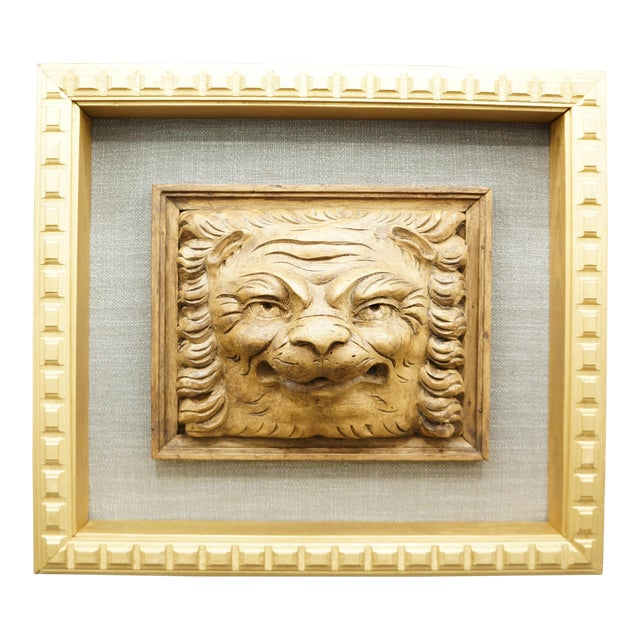 19th Century Framed Lion Head Fragment For Sale