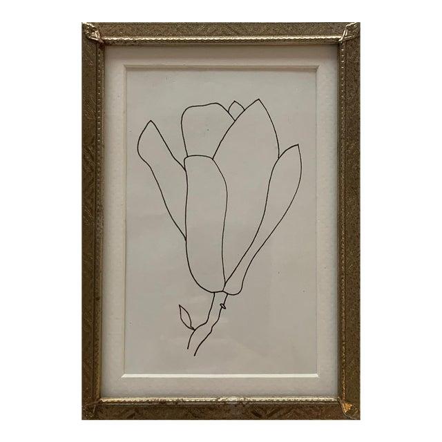 Original Floral Pen Drawing in Vintage Frame For Sale