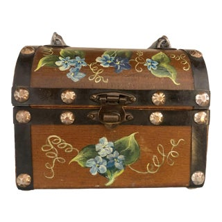 Vintage Wooden Hand Painted Blue and Green Floral Treasure Box For Sale