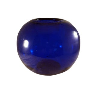 Cobalt Blue Globe Shaped Vase