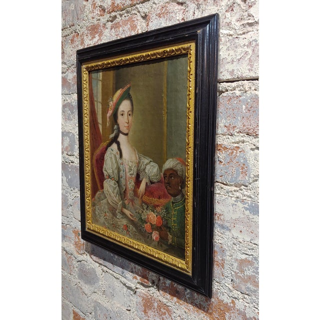 """Canvas 18th Century """"Aristocratic Lady & Her Black Slave"""" Oil Painting by Friedrich Ludwig Hauck For Sale - Image 7 of 10"""