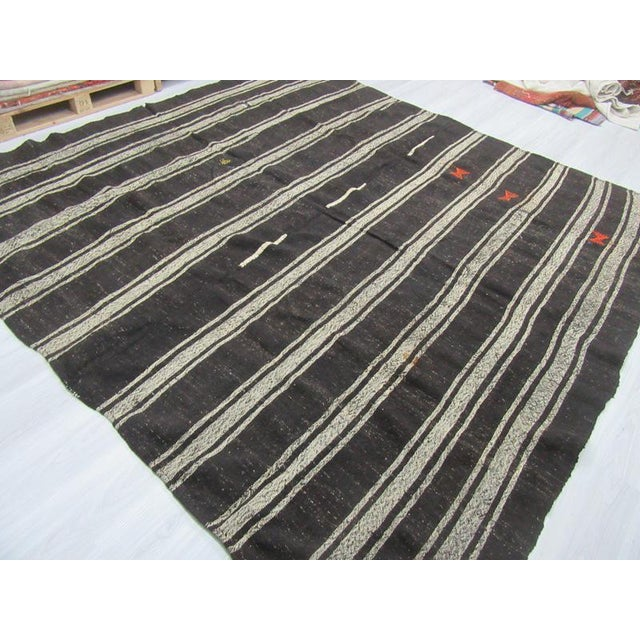 Islamic 1960's Vintage Kilim Black & Gray Striped Rug- 9′10″ × 10′ For Sale - Image 3 of 6