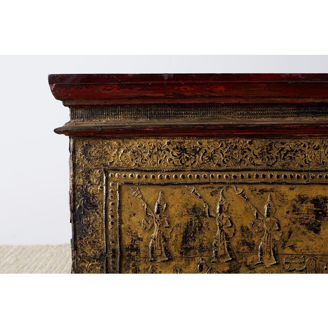 19th Century Burmese Gilded Chest or Trunk Table For Sale - Image 4 of 13
