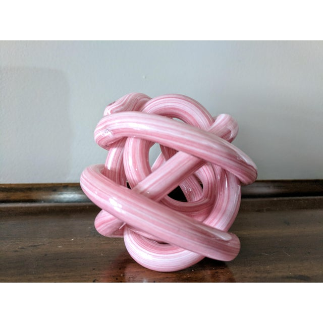 2000 - 2009 Pink Blown Glass Twisted Knot Sculpture For Sale - Image 5 of 12