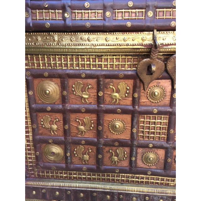 Exotic Chest Richly Adorned With Gleaming Brass Overlays on Copper - Image 4 of 6