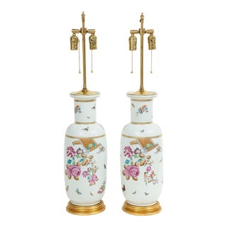 Porcelain Polychrome and Gilt Rouleau Vase Lamps - a Pair For Sale