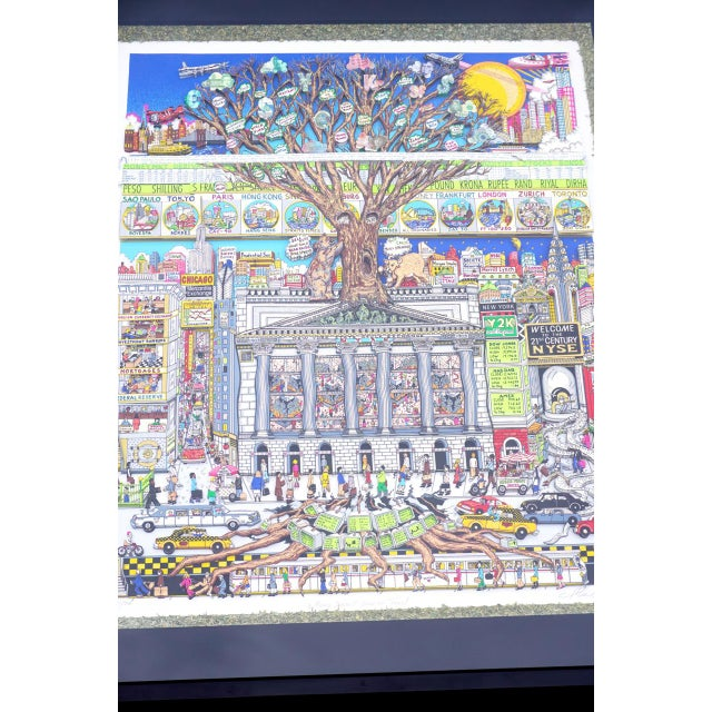 Vibrant, whimsical, 3-dimensional limited edition (281/300) print serigraph with actual shredded money border titled...