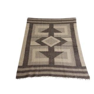 Geometric Handmade Ukranian Wool Blanket For Sale