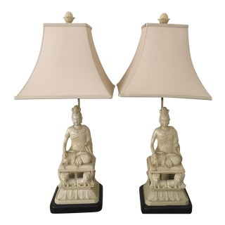 Contemporary Resin Buddha Asian Lamps With Shades - a Pair For Sale