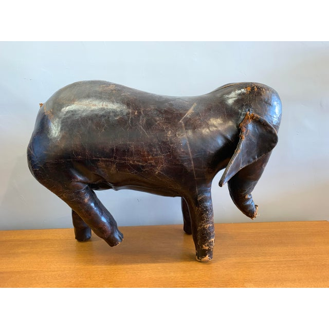 Vintage Leather Ottoman depicting an Elephant. This 1960s piece was designed by Dimitri Omersa for Abercrombie and Fitch,...