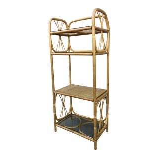 1970s Boho Chic Rattan Etagere For Sale