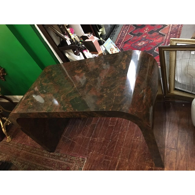 Mid-Century Faux Marble Console Table - Image 6 of 9