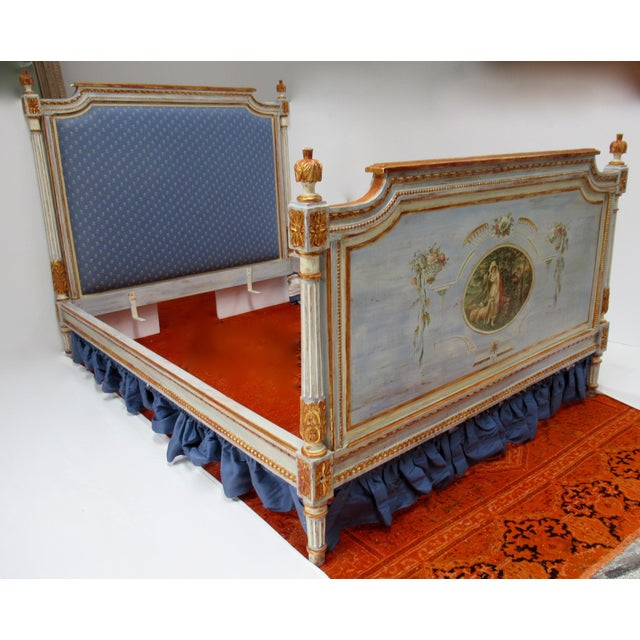Vintage 19th Century; French Napoleonic hand-painted and parcel gilt, full size upholstered bed frame. French...