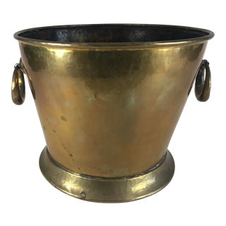 20th Century Hollywood Regency Solid Hammered Brass Cache Pot For Sale