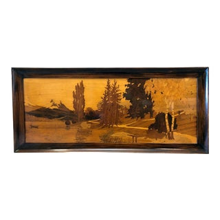 Antique Marquetry Landscape Scene For Sale