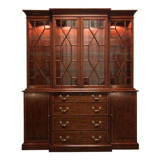 Henkel Harris Solid Wild Black Cherry Chippendale Breakfront China Display Cabinet For Sale