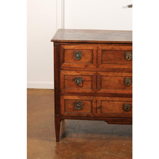 Wood French Directoire Style 1860s Walnut Veneered Commode with Inlay and Fluting For Sale - Image 7 of 13