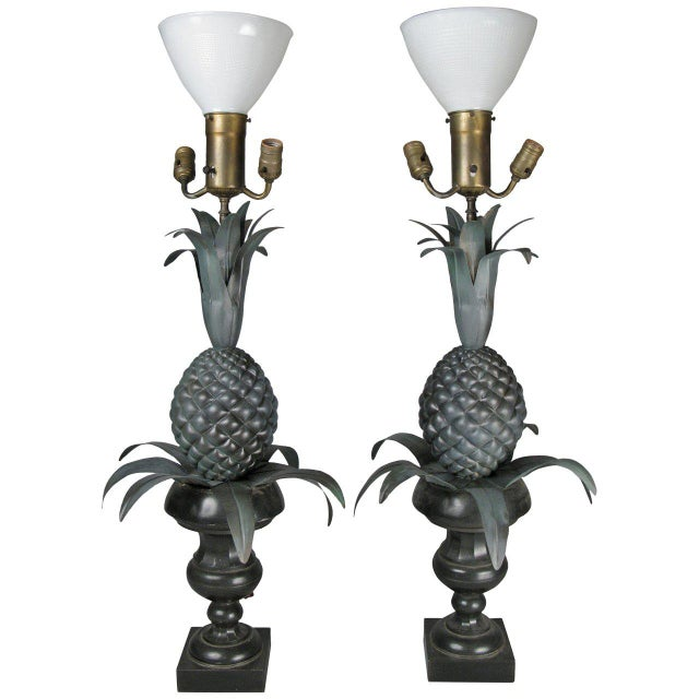 Vintage Pair of Large Pineapple Form Lamps For Sale In New York - Image 6 of 6