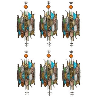 Poliarte Style Stained Glass Sconces - Pair